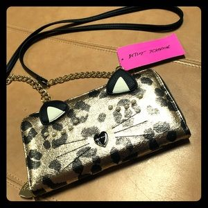 Betsey Johnson cheetah wallet Crossbody NWT